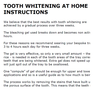 take home whitening instructions